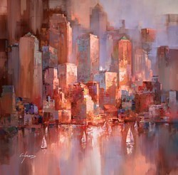Sunset on the Harbour IV by Wilfred -  sized 38x38 inches. Available from Whitewall Galleries
